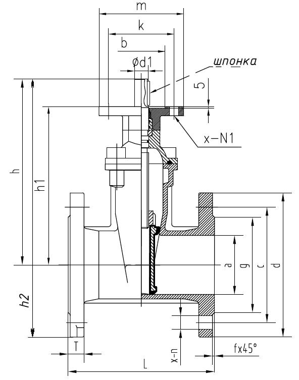 Чертеж габаритный задвижки клиновой с обрезиненным клином и невыдвижным голым штоком ABRA A40-16G-BS чугунной...